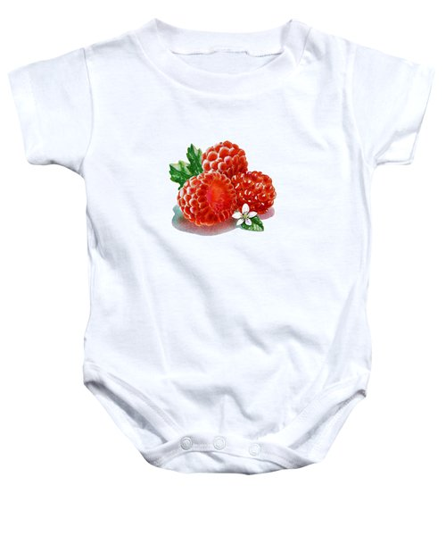 Baby Onesie featuring the painting Three Happy Raspberries by Irina Sztukowski