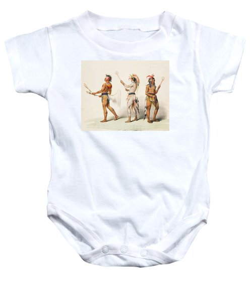 Three Indians Playing Lacrosse Baby Onesie
