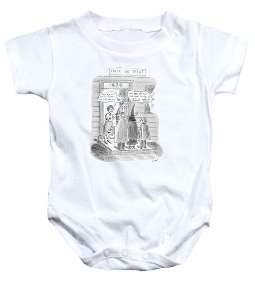 Trick Or Treat 'here Are Some Broccoli Florets - Baby Onesie by Roz Chast
