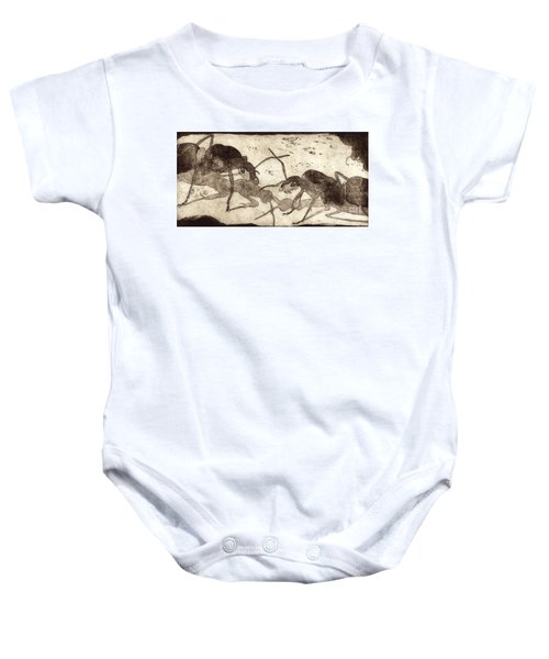 Two Ants In Communication - Etching Baby Onesie