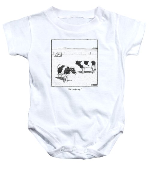 Two Spotted Cows Looking At A Jersey Cow Baby Onesie