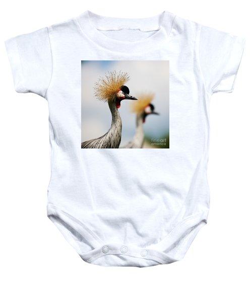 Two Black Crowned Cranes Baby Onesie
