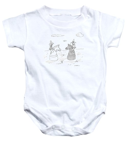 Two Cowboys Are Riding On Chess Pieces Baby Onesie