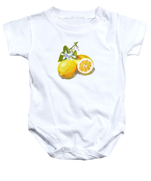 Baby Onesie featuring the painting Two Happy Lemons by Irina Sztukowski