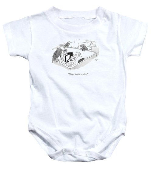 Two Men In A Small Cubicle Speak To Each Other Baby Onesie