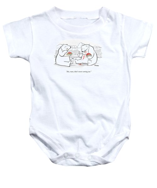 Two Polar Bears Eat Spaghetti And Meatballs.  One Baby Onesie