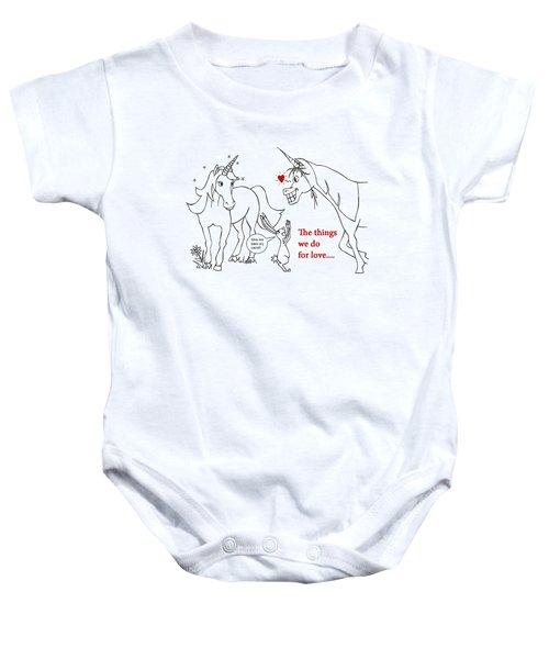 Unicorn Valentines Card Baby Onesie