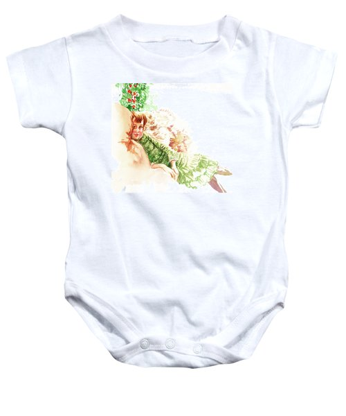 Baby Onesie featuring the painting Vintage Study Lilian Of James Tissot by Irina Sztukowski