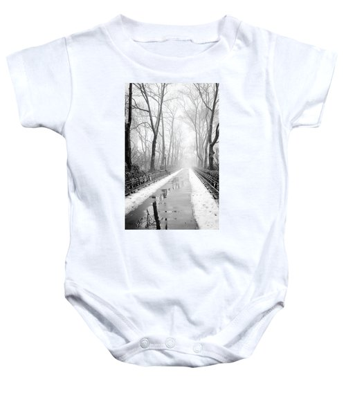 Walkway Snow And Fog Nyc Baby Onesie