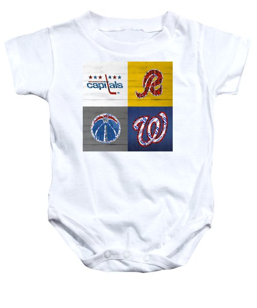 Washington Dc Sports Fan Recycled Vintage License Plate Art Capitals Redskins Wizards Nationals Baby Onesie