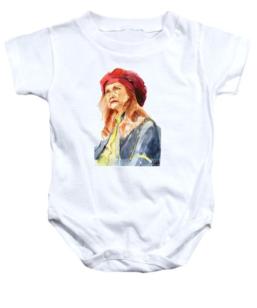 Watercolor Portrait Of An Old Lady Baby Onesie