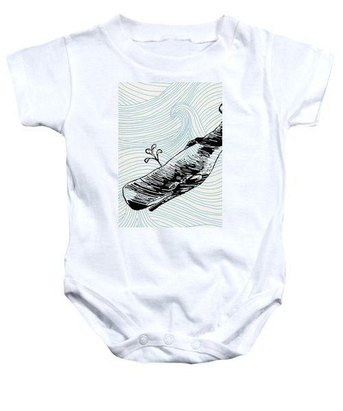 Whale On Wave Paper Baby Onesie
