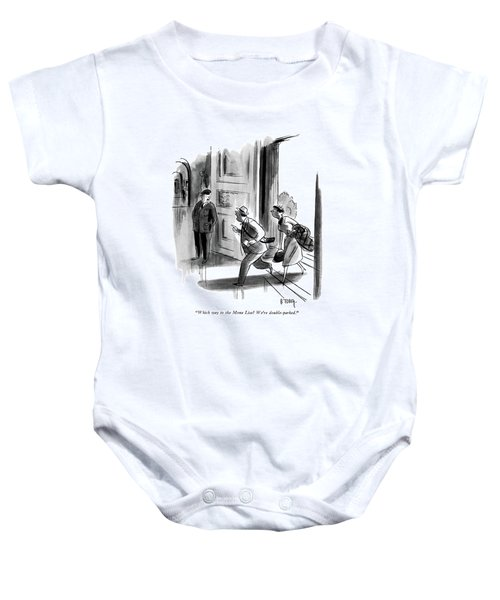 Which Way To The Mona Lisa? We're Double-parked Baby Onesie by Barney Tobey