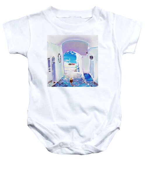 White And Blue 1 Baby Onesie