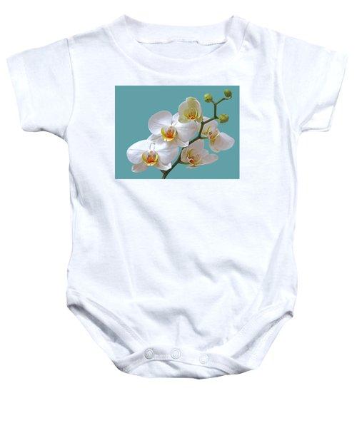 White Orchids On Ocean Blue Baby Onesie