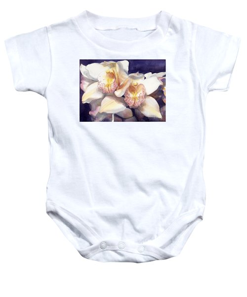 White Orchids Watercolor Baby Onesie