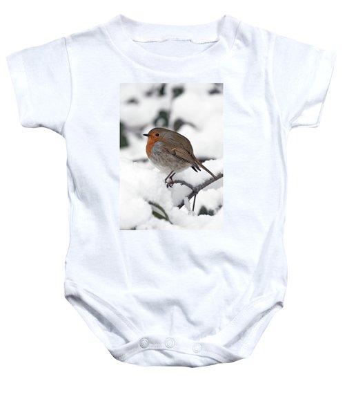 Winter Robin Baby Onesie