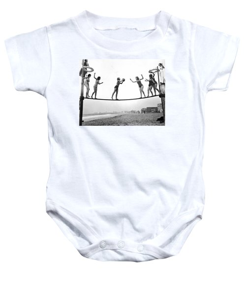 Women Play Beach Basketball Baby Onesie by Underwood Archives