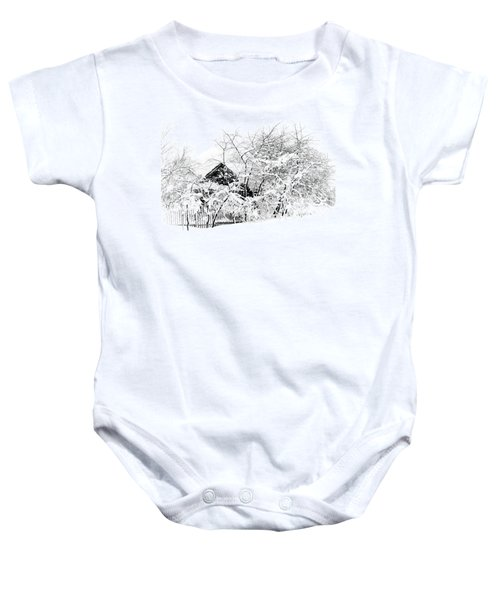 Wooden House After Heavy Snowfall. Russia Baby Onesie
