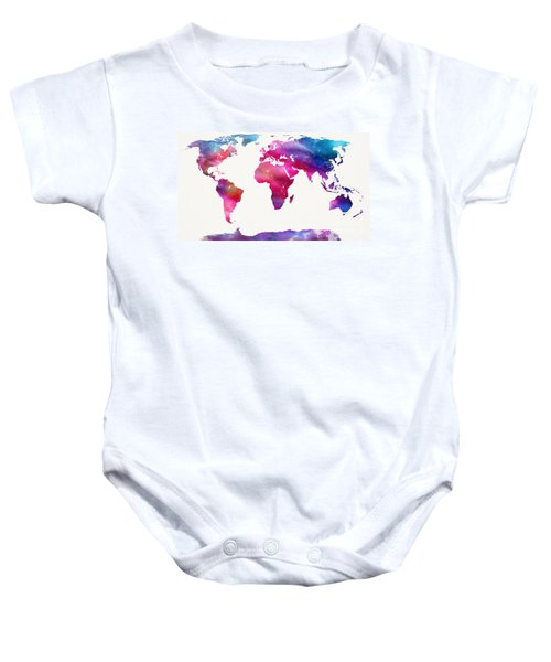 World Map Light  Baby Onesie by Mike Maher