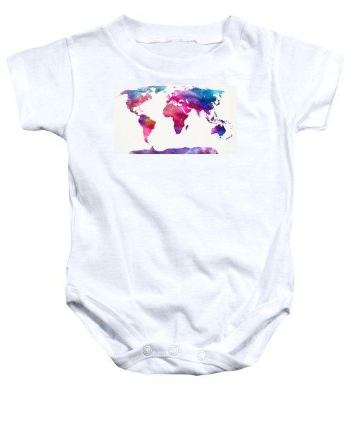 World Map Light  Baby Onesie