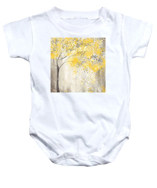 Yellow And Gray Tree Baby Onesie