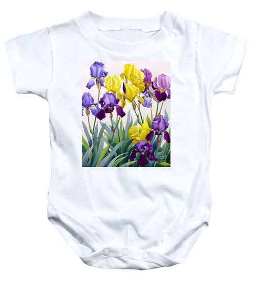 Yellow And Purple Irises Baby Onesie