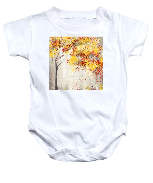 Yellow Gray And Red Baby Onesie
