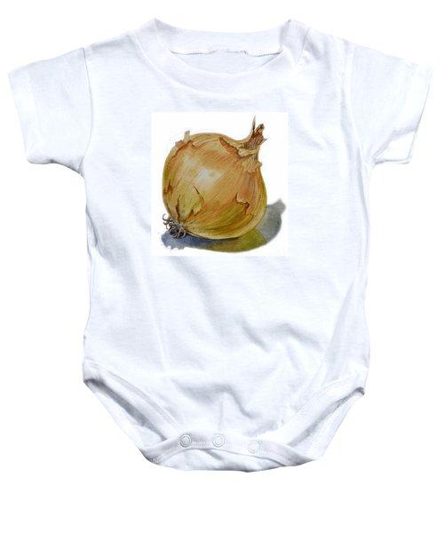 Yellow Onion Baby Onesie by Irina Sztukowski
