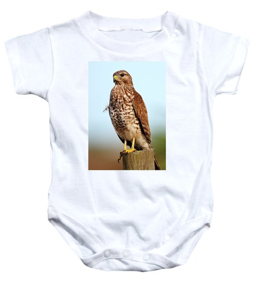Portrait Of A Red Shouldered Hawk Baby Onesie