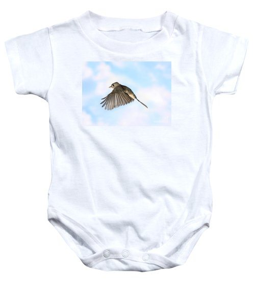 Tufted Titmouse In Flight Baby Onesie by Ted Kinsman