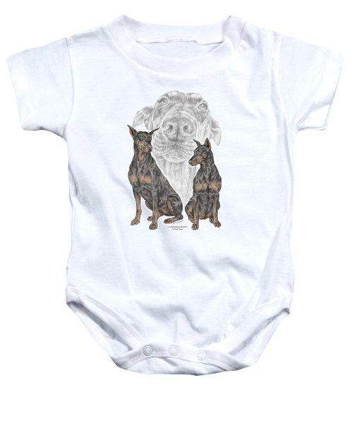 A Doberman Knows - Dobe Pinscher Dog Art Print Baby Onesie