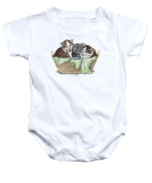 Basket Of Kittens - Cats Art Print Color Tinted Baby Onesie