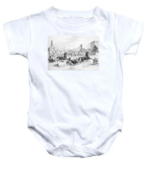 Boston: Sleighing, 1856 Baby Onesie