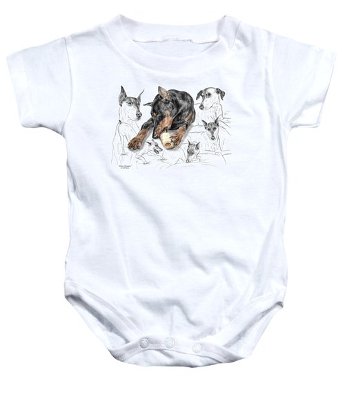 Dober-thoughts - Doberman Pinscher Montage Print Color Tinted Baby Onesie