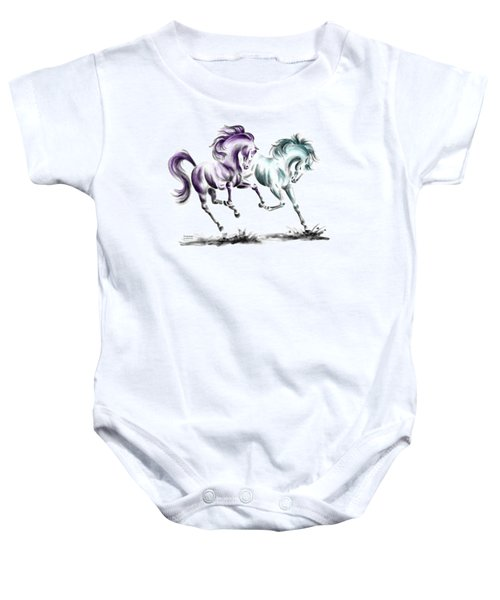 Frolicking - Wild Horses Print Color Tinted Baby Onesie