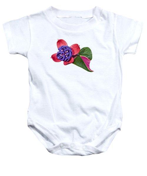 Fuchsia Blue Eyes On White Baby Onesie
