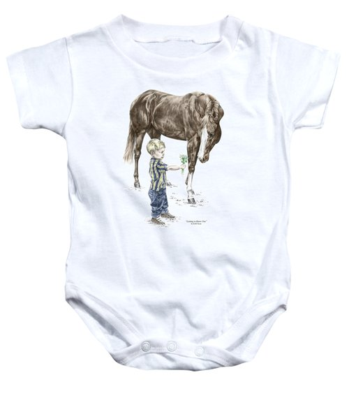 Getting To Know You - Boy And Horse Print Color Tinted Baby Onesie