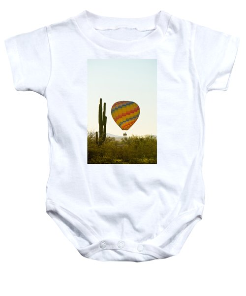Hot Air Balloon In The Arizona Desert With Giant Saguaro Cactus Baby Onesie