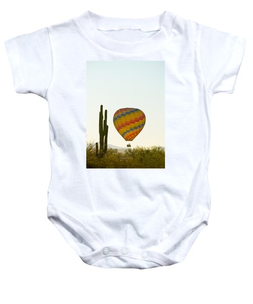 Hot Air Balloon In The Arizona Desert With Giant Saguaro Cactus Baby Onesie
