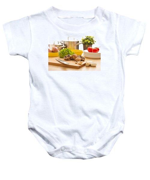 Kitchen Still Life Preparation For Cooking Baby Onesie