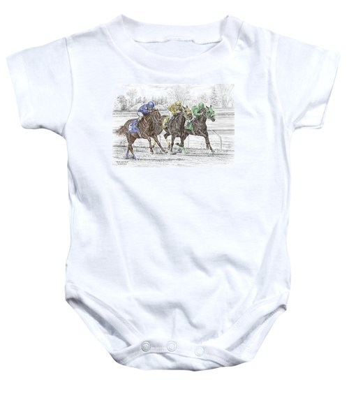Neck And Neck - Horse Race Print Color Tinted Baby Onesie