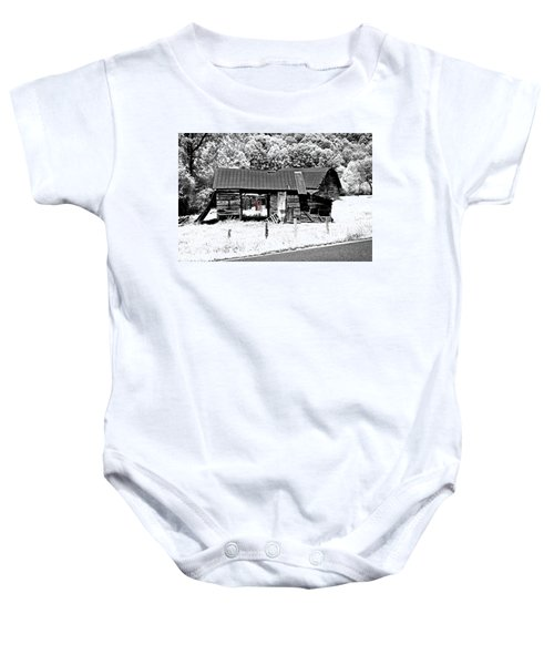 Old Barns With Red Gate Baby Onesie