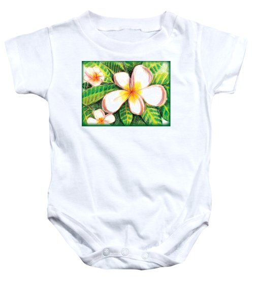 Plumeria With Foliage Baby Onesie