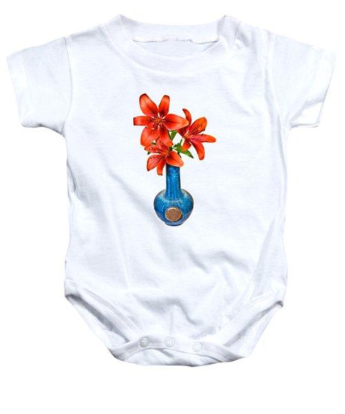Red Lilies In Blue Vase Baby Onesie