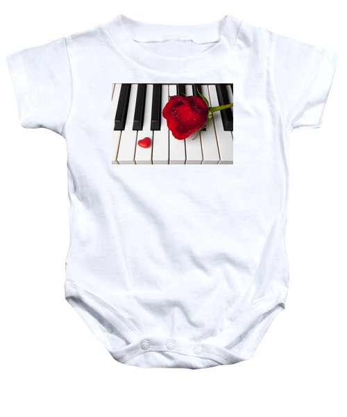 Red Rose And Candy Heart Baby Onesie