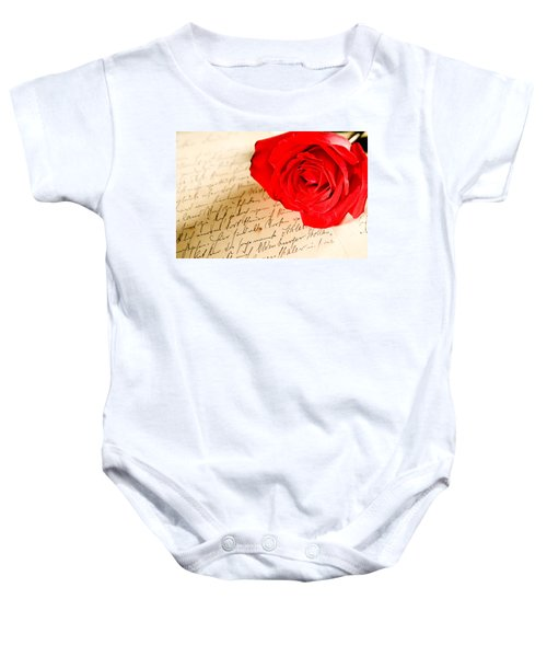 Red Rose Over A Hand Written Letter Baby Onesie