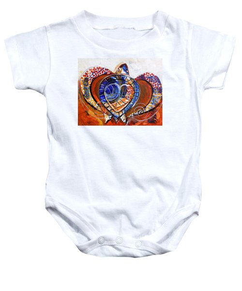 Sea Turtle Love - Orange And White Baby Onesie