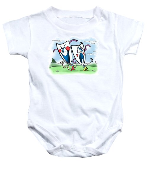 The Two Faces Of Golf Baby Onesie