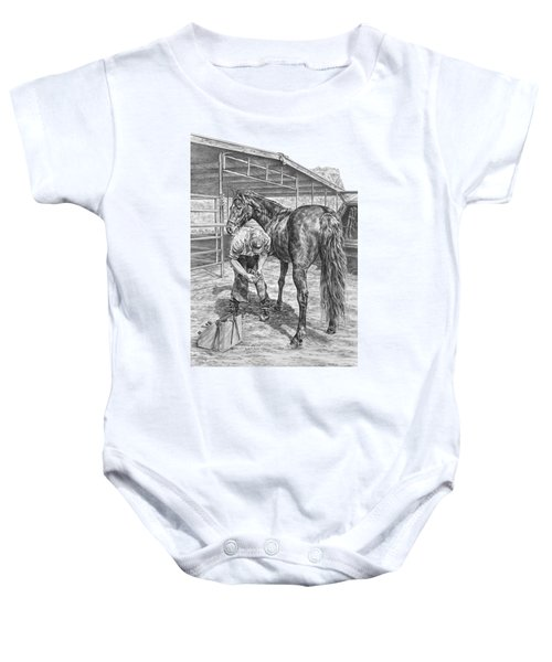 Trim And Fit - Farrier With Horse Art Print Baby Onesie